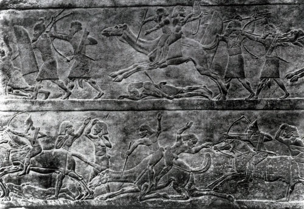 30. Битва на верблюдах. Рельеф из дворца Ашшурбанипала в Ниневии. Алебастр. Середина 7 в. до н. э. Лондон. Британский музей.