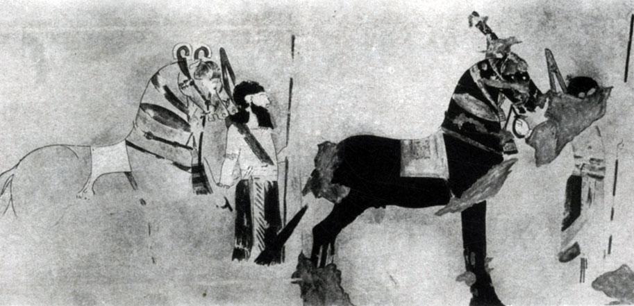 35 а. Всадники. Роспись дворца в Тил-Барсибе. 8—7 вв. до н. э.