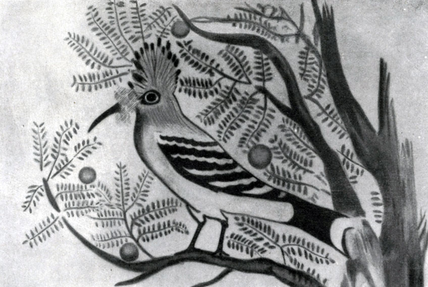 57 а. Удод. Деталь росписи гробницы номарха Хнумхотепа II в Бени-Хасане. XII династия. 20 в. до н. э.