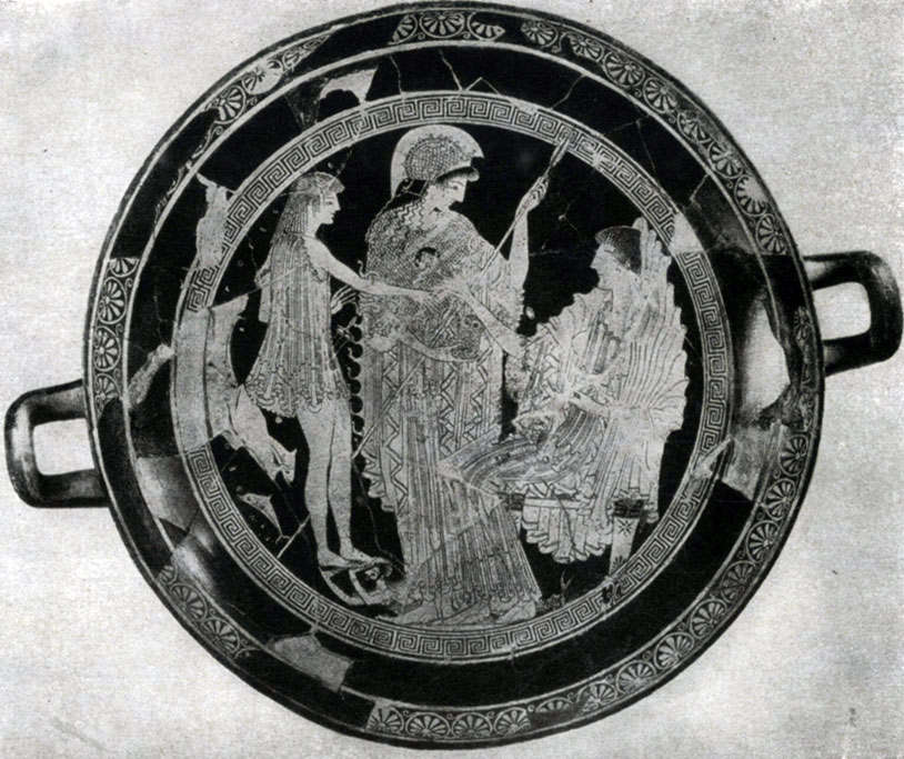 130 а. Евфроний. Тезей у Амфитриты. Роспись килика. Около 500—490 гг. до н. э. Париж. Лувр.