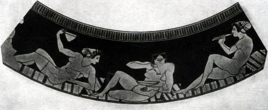 130 6. Евфроний. Гетеры, играющие в коттаб. Роспись килика. Начало 5 в. до н. э.