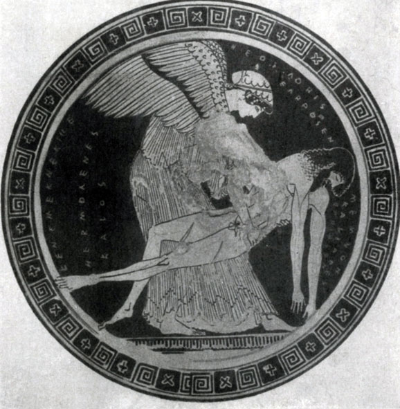 132 а. Дурис Эосс с телом Мемнона. Роспись килика. Около 490—480 гг. до н. э. Париж. Лувр.
