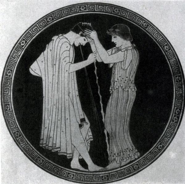 132 6. Бриг. Последствия пирушки. Роспись килика. Около 480 г. до н. э. Вюрцбург. Университет.