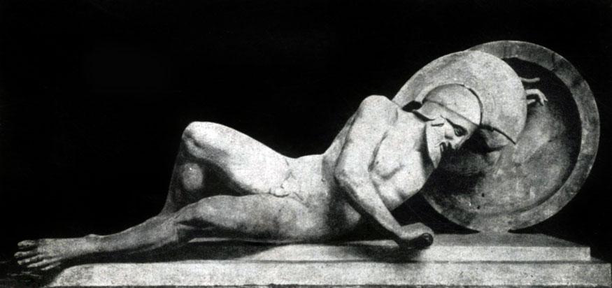 134 6. Раненый воин с восточного фронтона храма Афины-Афайи на острове Эгине. Мрамор. Около 490—480 гг. до н. э. Мюнхен. Глиптотека.