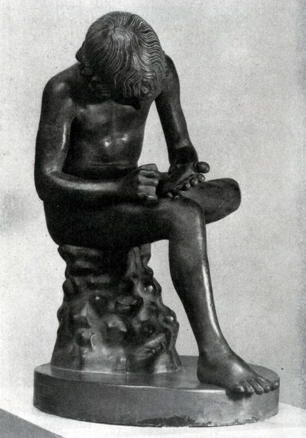 136 6. Мальчик, вынимающий занозу. Вторая четверть 5 в. до н. э. Бронзовая римская копия. Рим. Палаццо Консерватори.