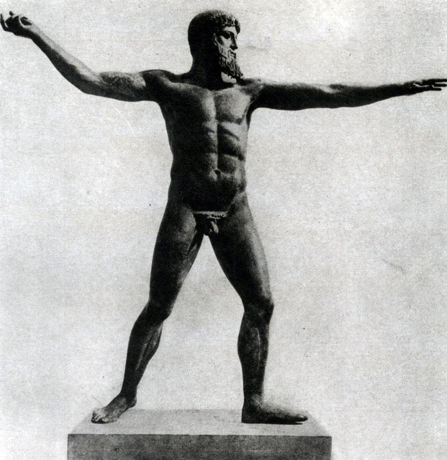 139. Зевс Громовержец. Найден в море у мыса Артемисион. Бронза. Около 460 г. до н. э. Афины. Национальный музей.