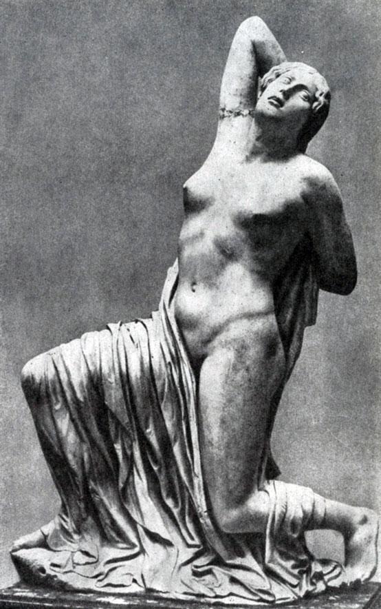 143 6. Раненая Ниобида. Вероятно, одна из фигур фронтонной композиции. Мрамор. Середина 5 в. до н. э. Рим. Музей Терм.