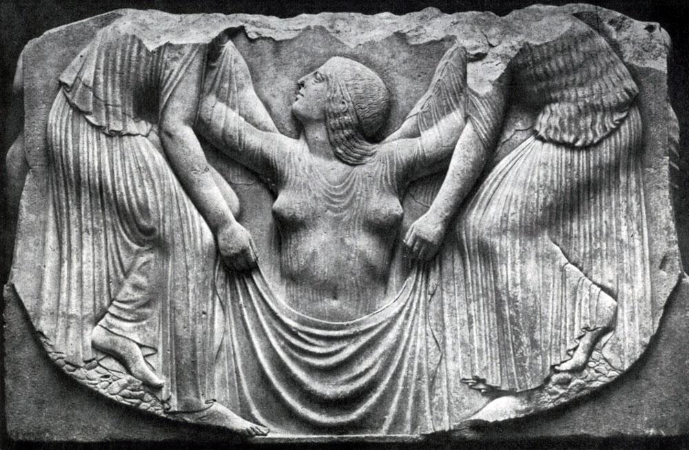 144. Трон Людовизи. Рождение Афродиты. Мрамор. Около 470 г. до н. э. Рим. Музей Терм.