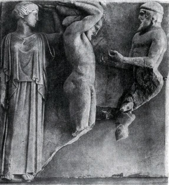 149 а. Геракл и Атлас. Метопа храма Зевса в Олимпии. Мрамор. 468—456 гг. до н. э. Олимпия. Музей.