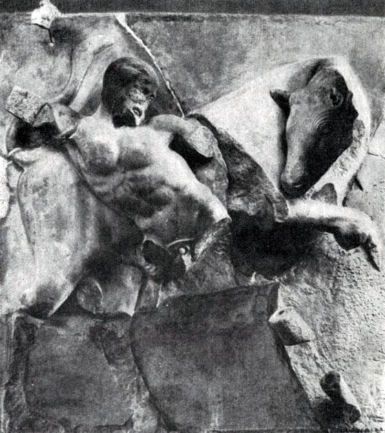 149 6. Битва Геракла с Критским быком. Метопа храма Зевса в Олимпии. 468— 456 гг. до н. э. Париж. Лувр; часть метопы. Олимпия. Музей.