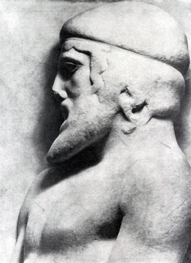 151. Голова Атласа. Фрагмент метопы храма Зевса в Олимпии. См. илл. 149а.