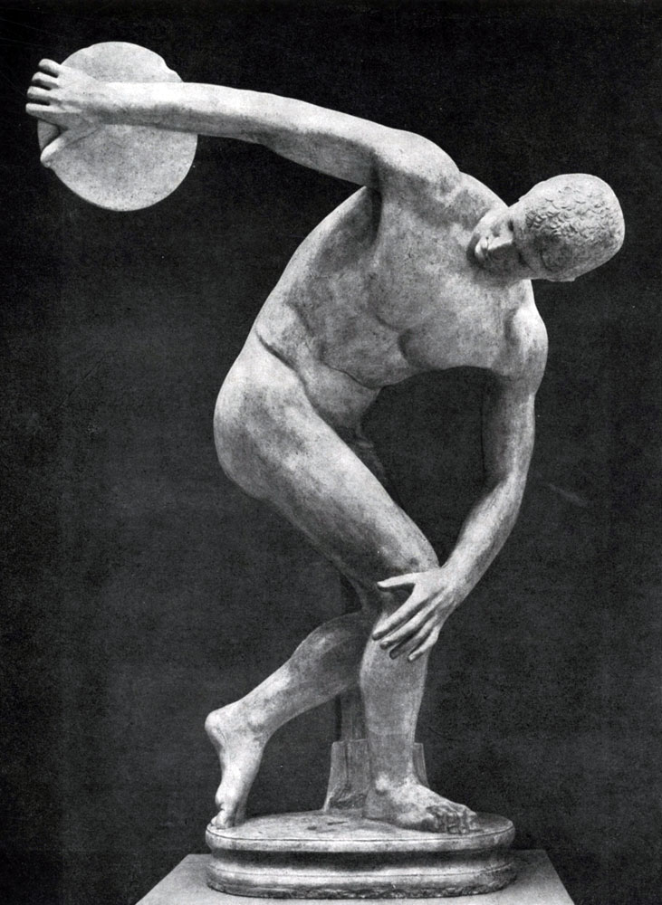 153. Мирон. Дискобол. Около 450 г. до н. э. Мраморная римская копия с утраченного бронзового оригинала. Рим. Музей Терм.