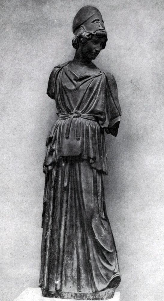 154. Мирон. Афина. Середина 5 в. до н. э. Мраморная римская копия с утраченного бронзового оригинала. Франкфурт.