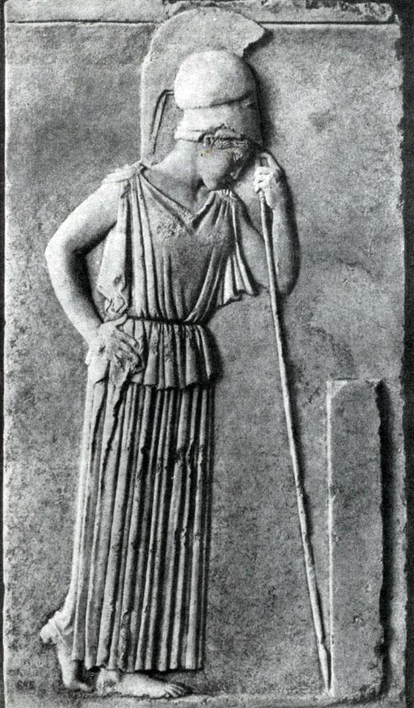 156. Афина, опирающаяся на копье. Мраморный рельеф с Афинского акрополя. Около 460 г. до н. э. Афины. Музей Акрополя.