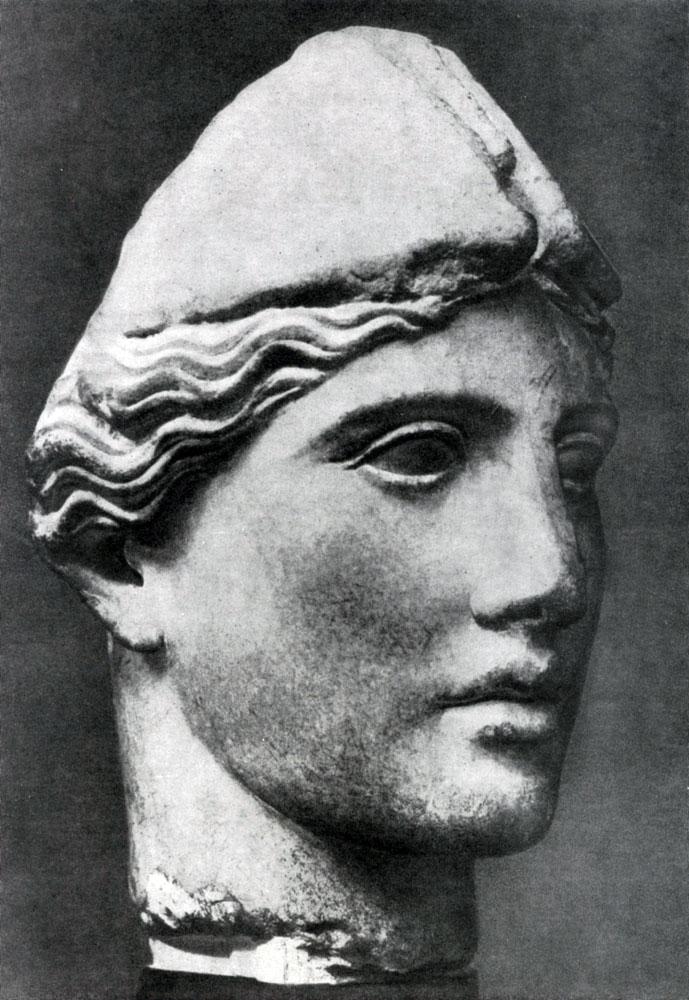 158. Круг Мирона. Голова Афины. Мрамор. Середина 5 в. до н. э. Рим. Музей Баррокко.
