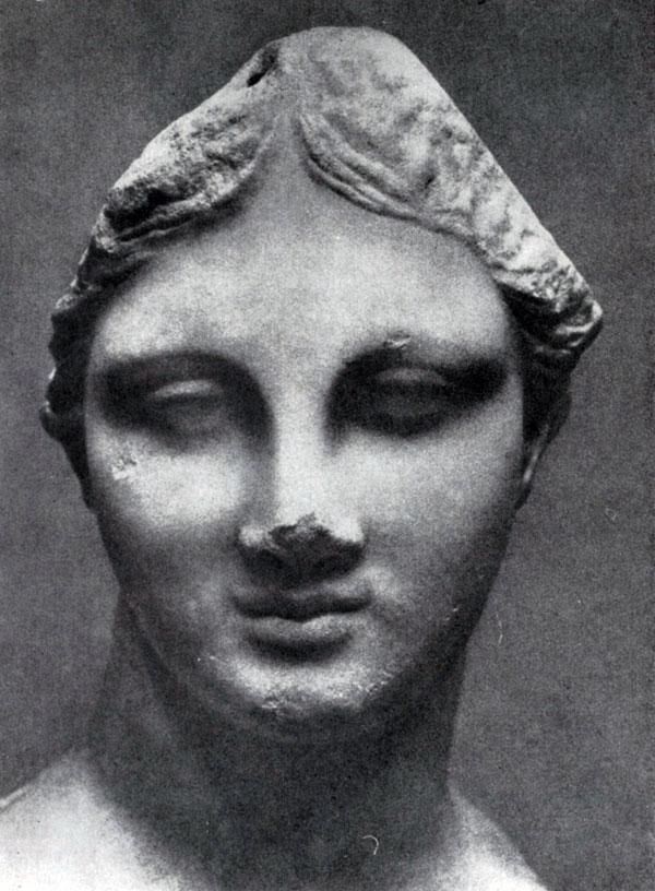 227 а. Голова девушки с острова Хиоса. Мрамор. Конец 4 в. до н. э. Бостон. Музей изящных искусств.