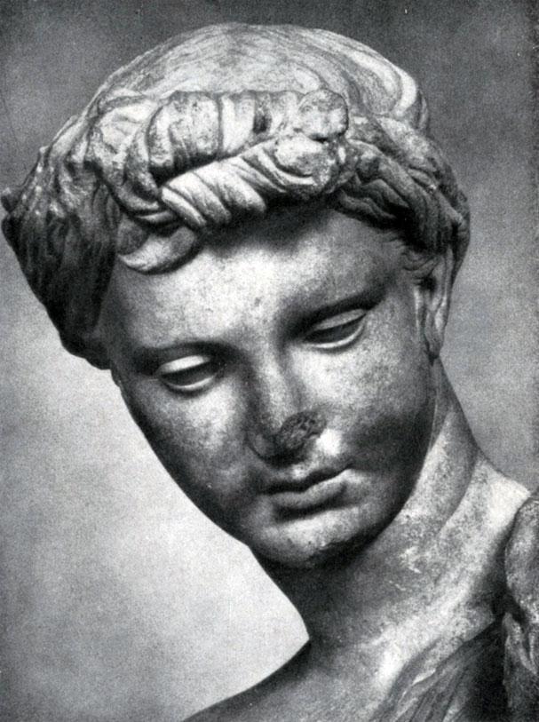 227 6. Девушка из Анцио. Голова. Мрамор. Середина 3 в. до н. э. Рим. Музей Терм.