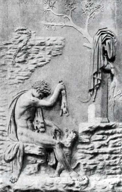 234 6. Геракл с собакой. Мраморная римская копия с рельефа 2 в. до н. э. Париж. Лувр.