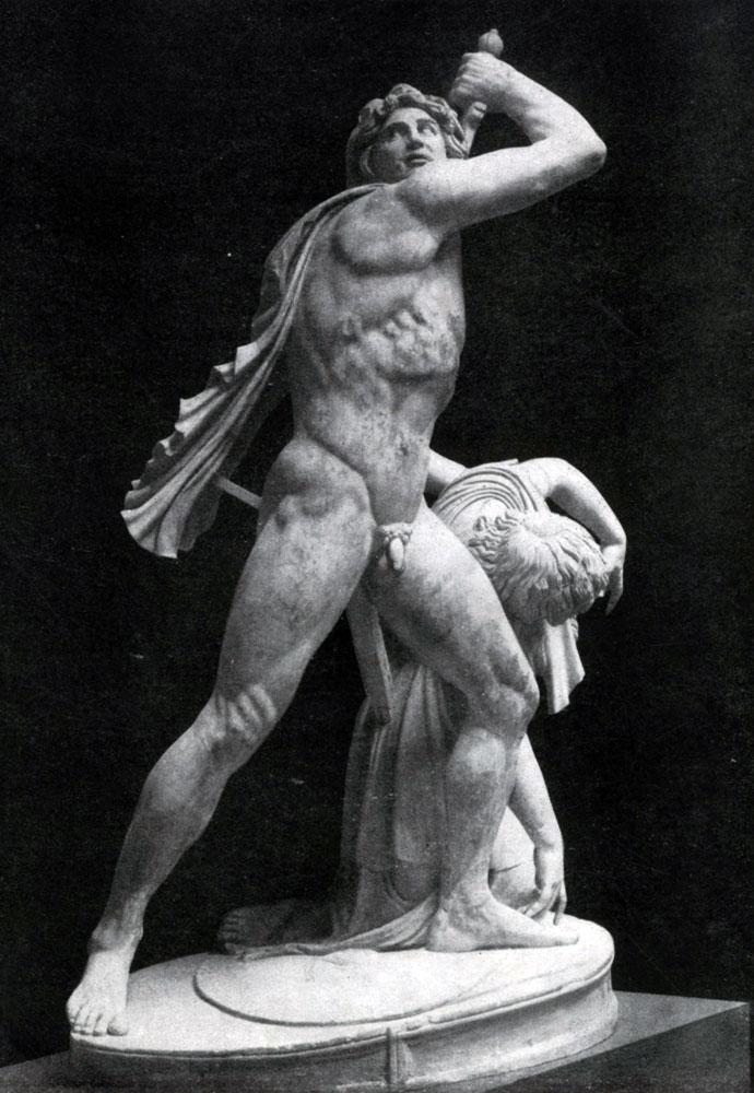 242. Галл, убивающий себя и жену. Мраморная римская копия с утраченного оригинала. Конец 3 в. до н. э. Рим. Музей Терм.