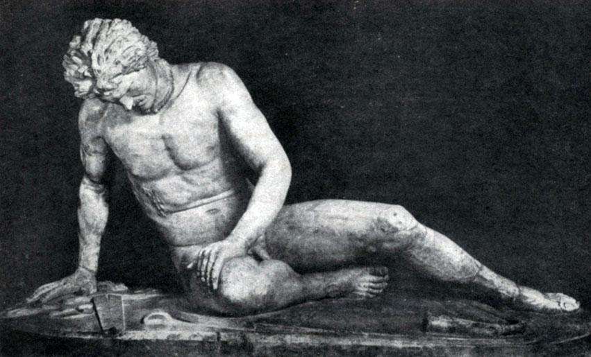 243 6. Умирающий галл. Конец 3 в. до н. э. Мраморная римская копия с утраченного оригинала. Рим. Капитолийский музей.