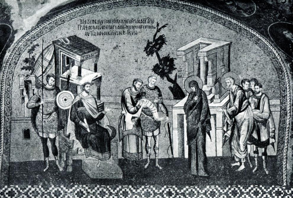 42.  Перепись.   Мария   и Иосиф   перед   проконсулом Квирином.   Мозаика внешнего нарфика церкви   монастыря Хора (Кахрие-Джами) в Константинополе. Начало 14 в.