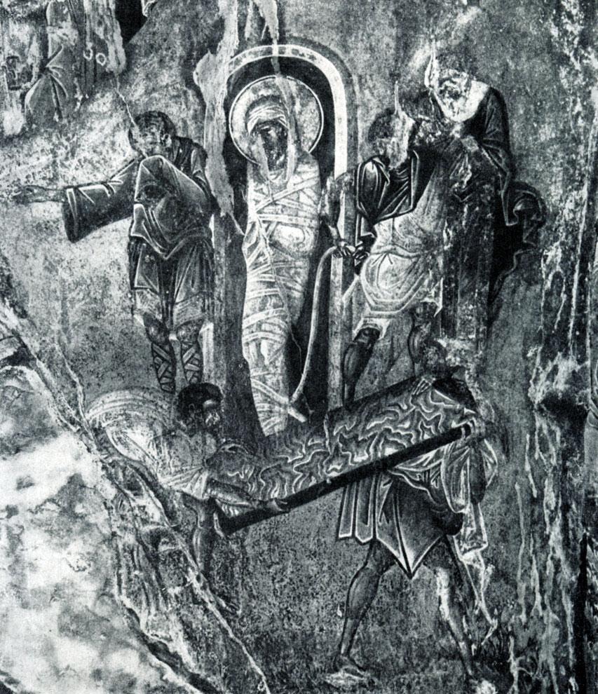 45.  Воскрешение Лазаря. Фреска церкви Пантанасса   в   Мистре.    Фрагмент.    1428-1445 гг.