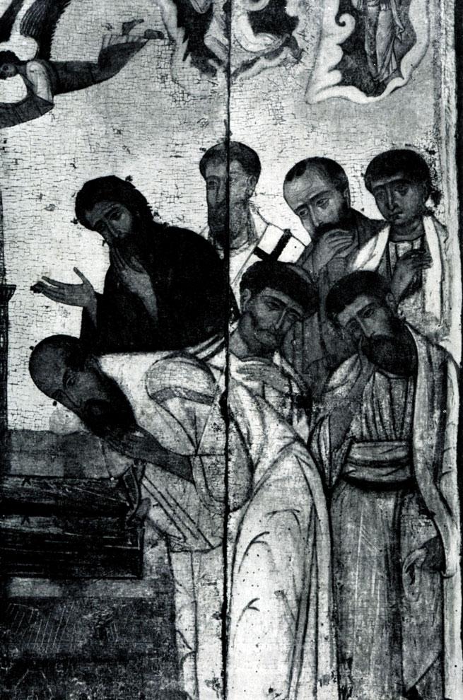 96. Успение Богоматери. Икона 13 в. Фрагмент.