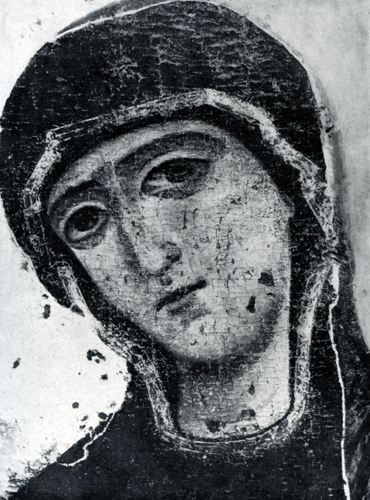 98. «Устюжское Благовещение». Икона конца 12 в. Фрагмент - голова Марии.