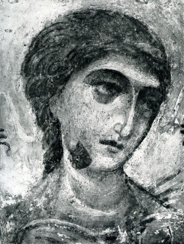 106. Ангел. Фрагмент фрески Дмитриевского собора во Владимире. Конец 12 в.