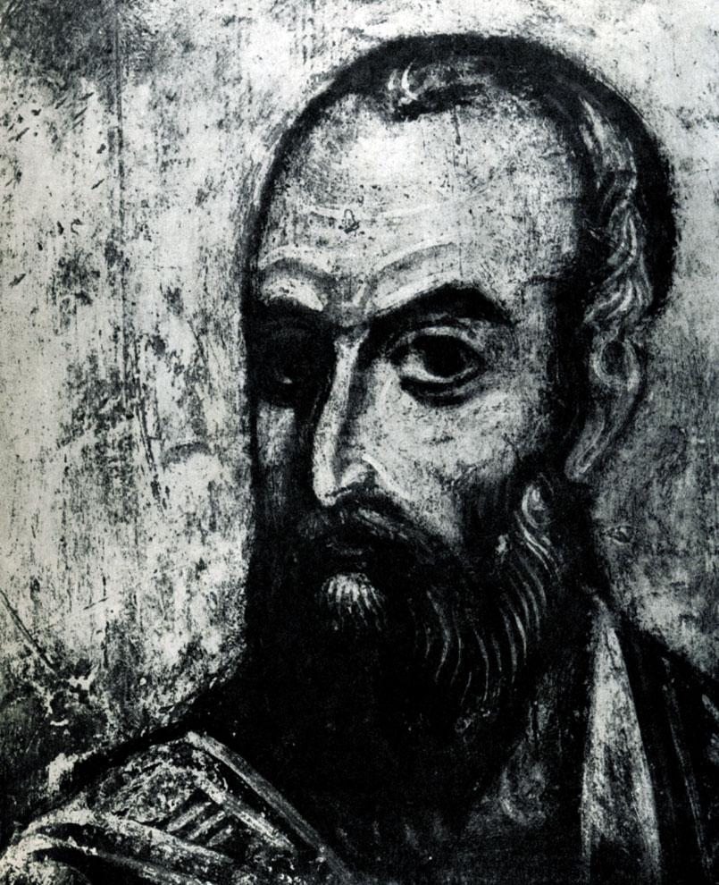 109. Апостол Павел. Фрагмент фрески Дмитриевского собора во Владимире. Конец 12 в.