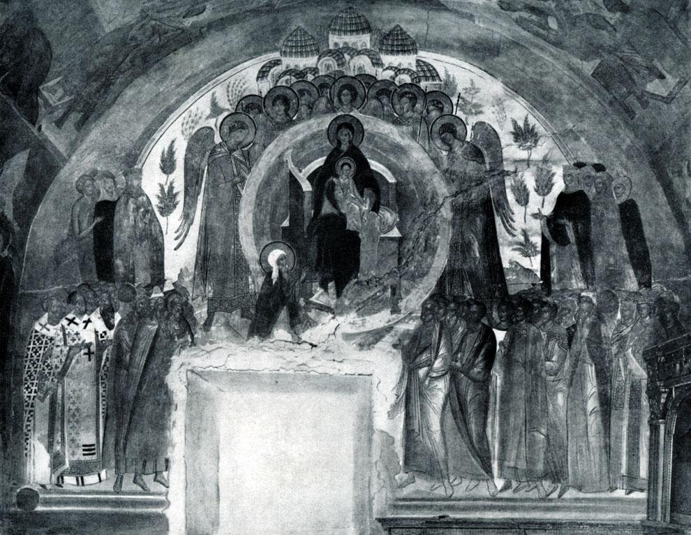 132. «О тебе радуется». Фреска церкви Рождества Богородицы в Ферапонтовой монастыре. 1500-1502.