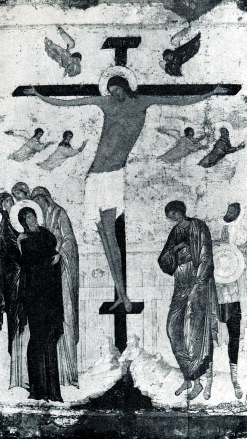 133 б. Дионисий. Распятие. Икона из Обнорского монастыря. 1500 г. Москва, Третьяковская галлерея.