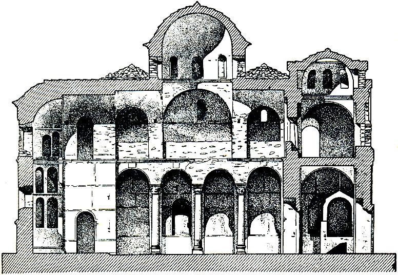 Церковь Пантанасса в Мистре. Освящена в 1428 г. Продольный разрез.