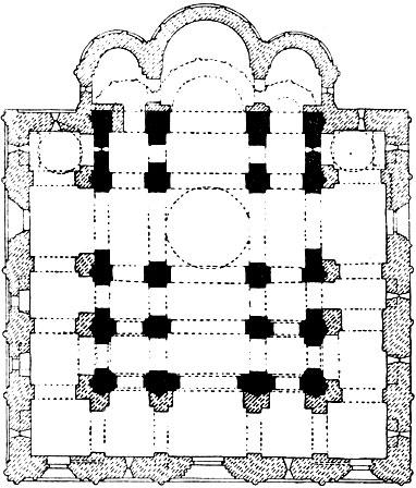 Успенский собор во Владимире. 1158-1161 гг., расширен в 1185-1189 гг. План.