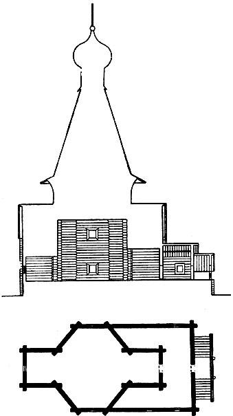 Никольская церковь в Панилове Архангельской области. 1600 г. Продольный разрез и план.