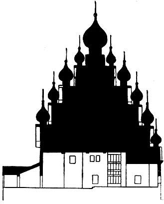 Преображенская церковь погоста. Кижи. Карельская АССР. Начало 18 в. Продольный разрез.