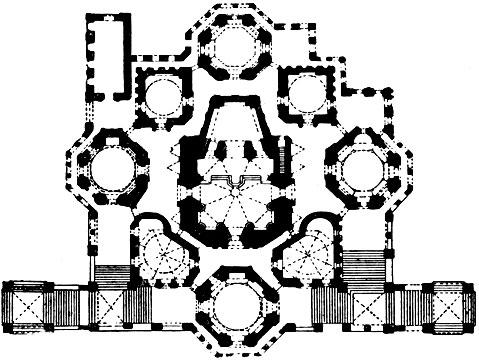 Собор Покрова на рву (храм Василия Блаженного) в Москве. План.