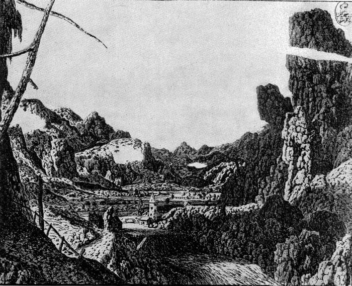 Геркулес Сегере. Пейзаж с водопадом. Офорт. 1630-е гг.
