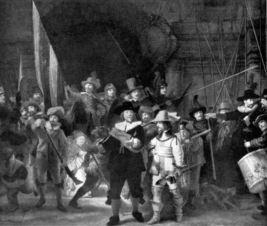 Рембрандт. Ночной дозор (Ротака питана Франса Баннинга Кока и лейтенанта Виллема ван Рейтенбурха). 1642 г. Амстердам, Рейксмузей.