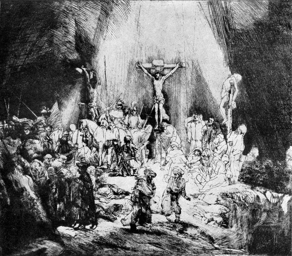 Рембрандт. Три креста. Офорт. 1653 г.