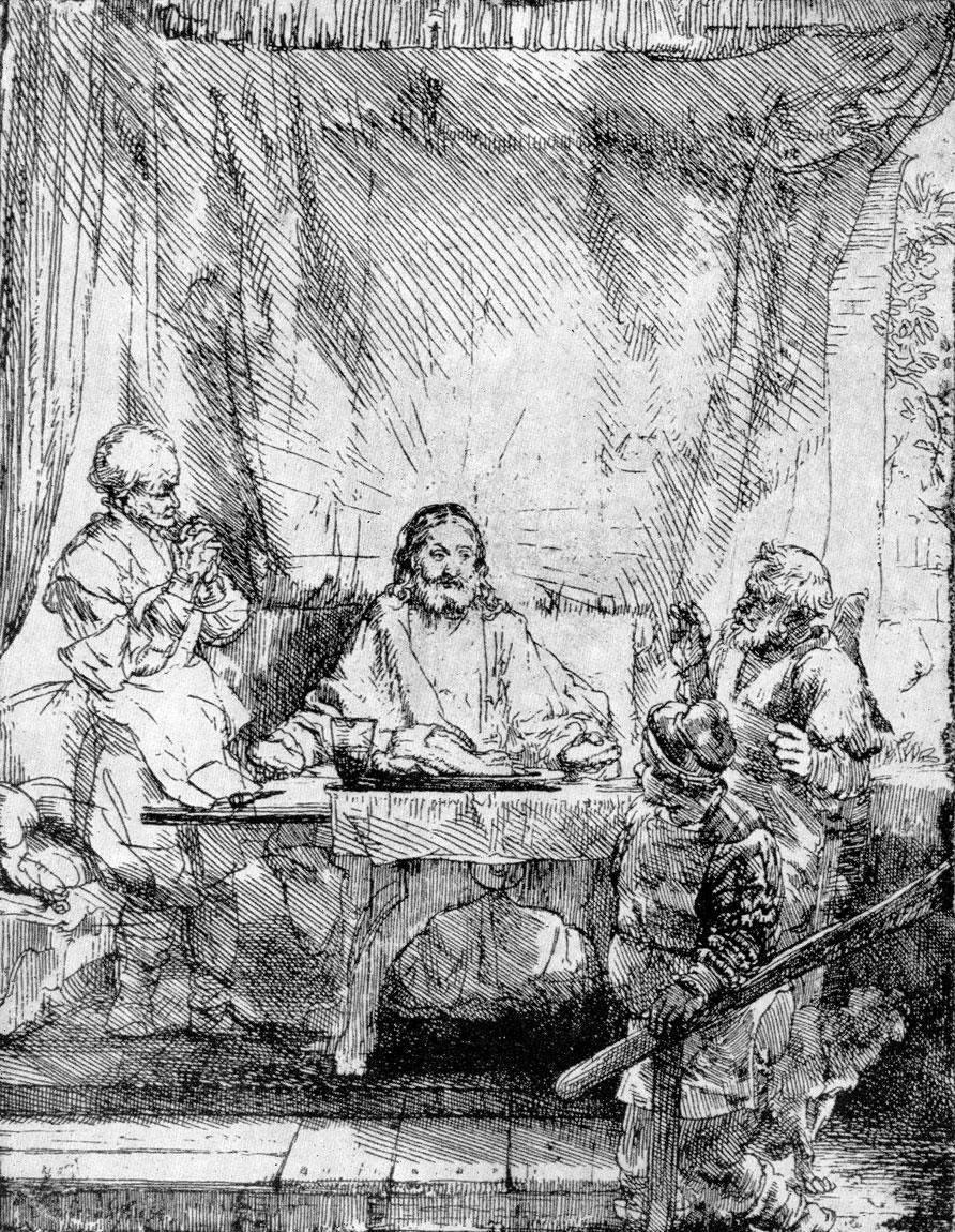 Рембрандт. Христос в Эммаусе. Офорт. 1654 г.