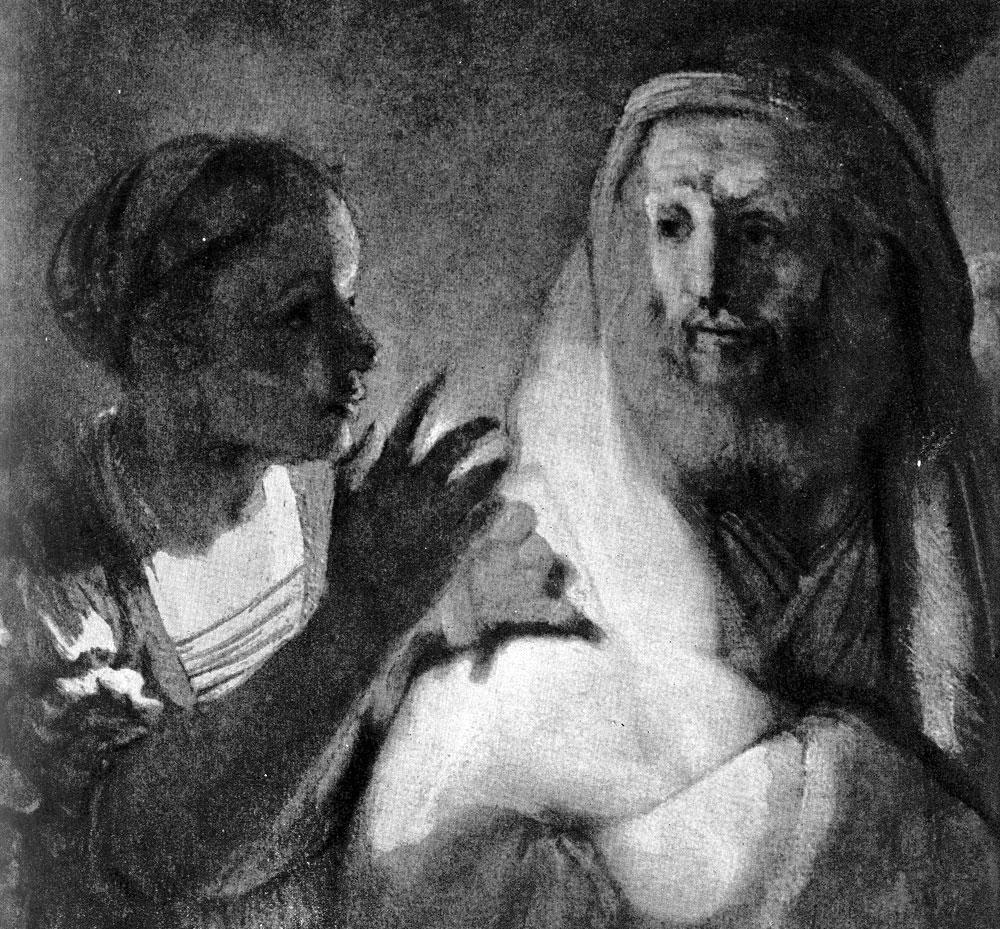 Рембрандт. Отречение апостола Петра. Фрагмент. 1660 г. Амстердам, Рейксмузей.