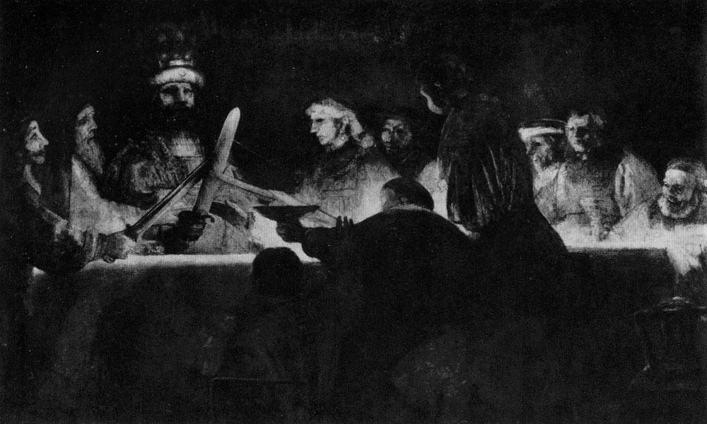 Рембрандт. Заговор Юлия Цивилиса. 1661 г. Стокгольм, Национальный музей.