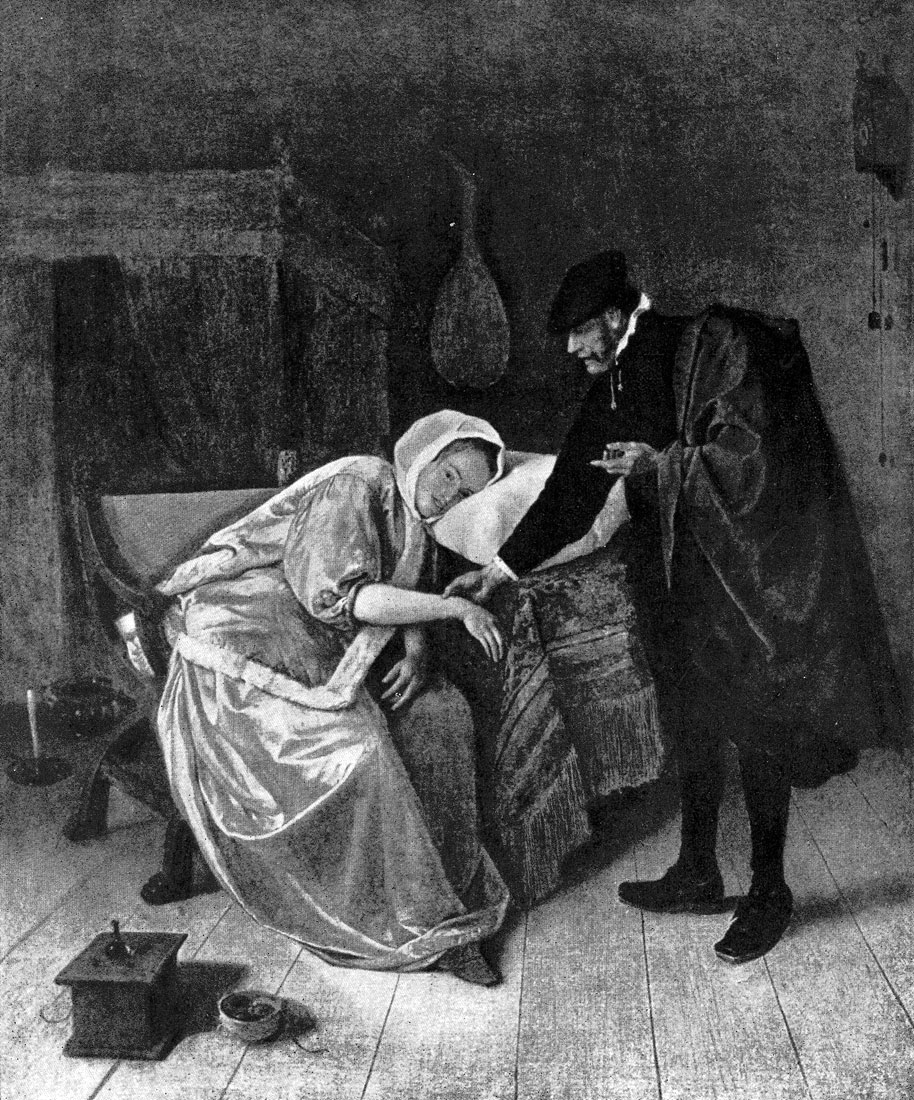 Ян Стен. Больная и врач. Конец 1650-х - начало 1660-х гг. Амстердам, Рейксмузей.