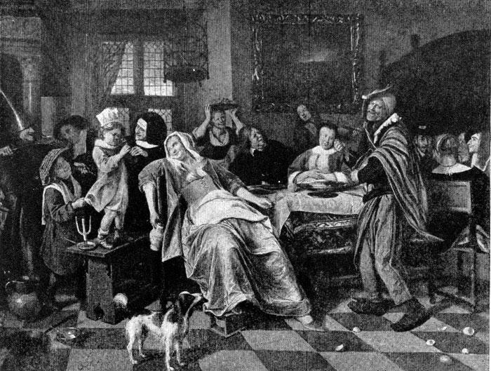 Ян Стен. Праздник бобового короля. Конец 1650-начало 1660-х гг. Касселъ, Галлерея.