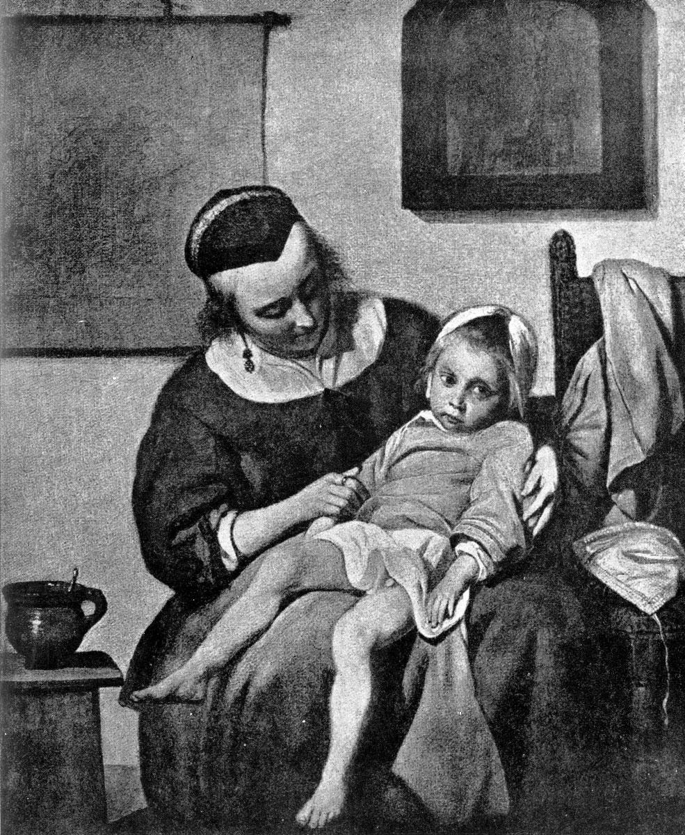 Габриэль Метсю. Больной ребенок. Ок. 1660 г. Амстердам, Рейксмузей.