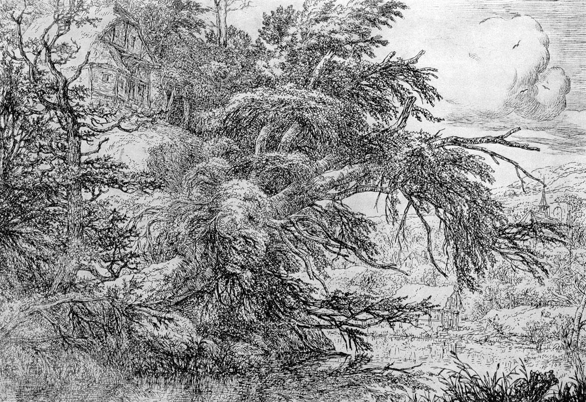 Якоб ван Рейсдаль. Хижина на холме. Офорт. Ок. 1650 г.