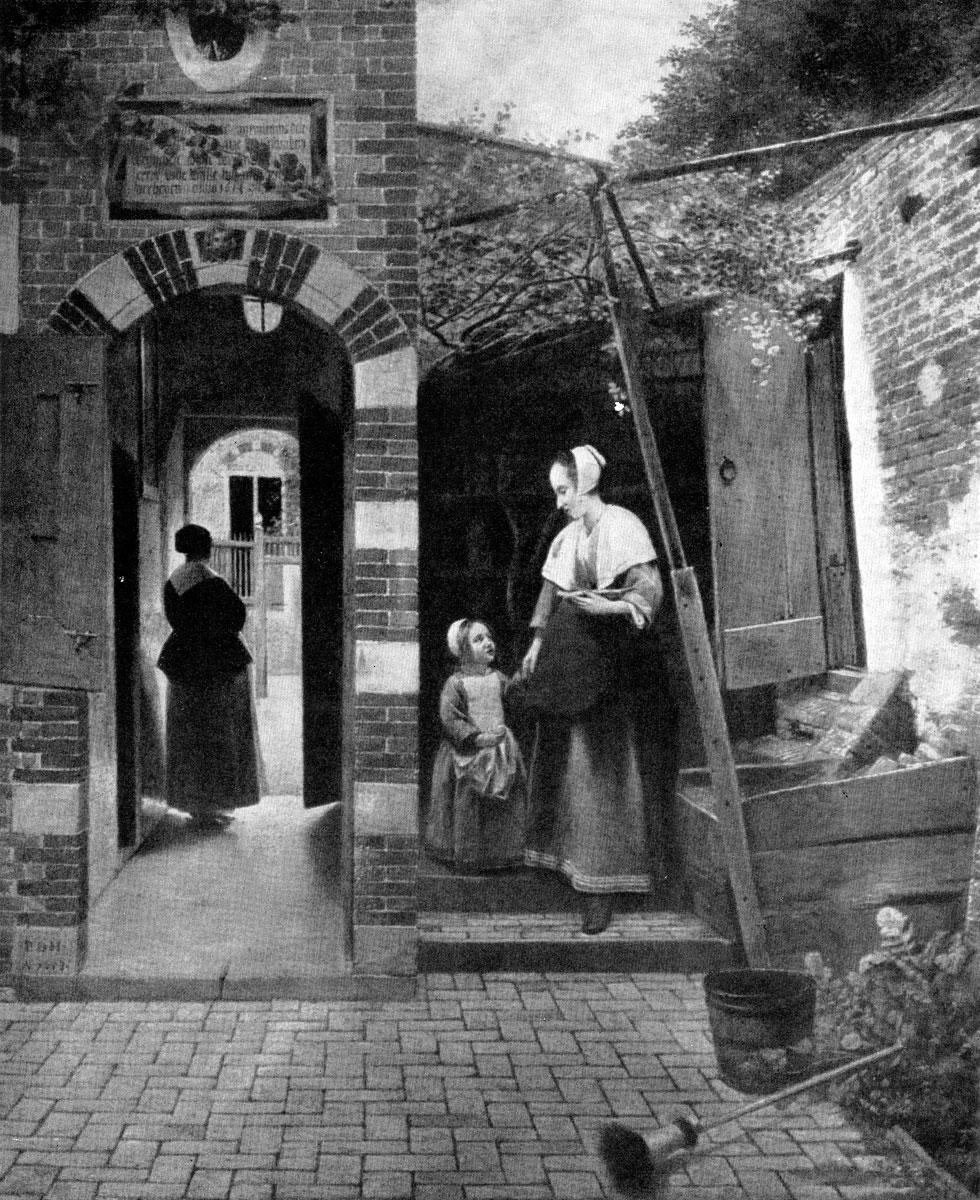 Питер де Хоох. Служанка с ребенком во дворике. 1658 г. Лондон, Национальная галлерея.