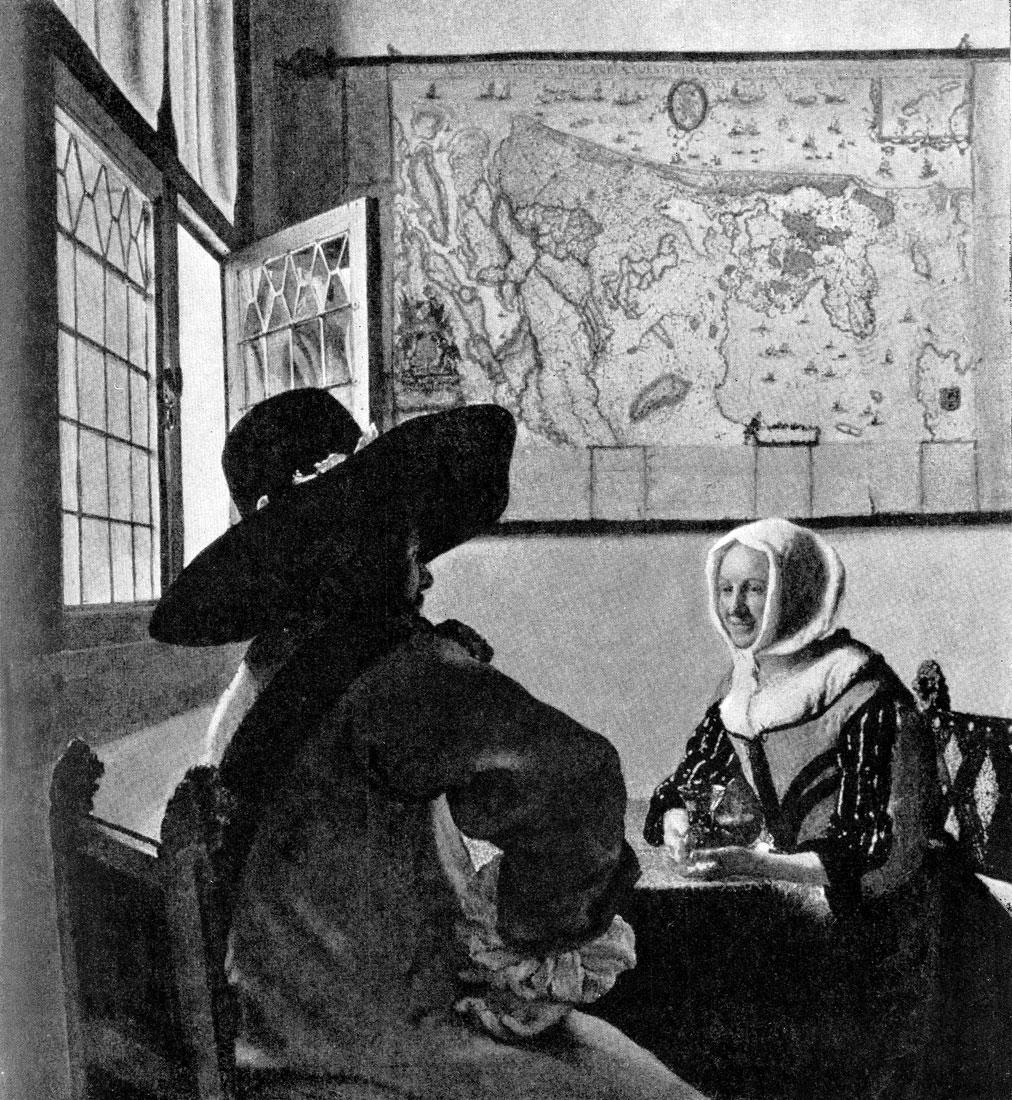 Ян Вермеер. Офицер и смеющаяся девушка. Конец 1650-х гг. Нью-Йорк, музей Фрик.