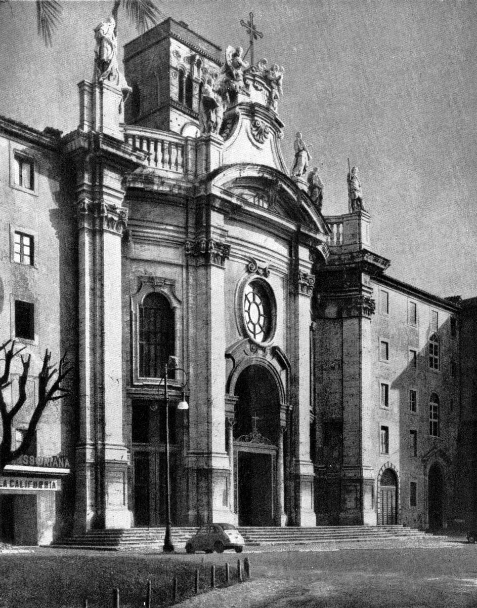 Пьетро Пассалаква и Доменико Грегорини. Фасад церкви Сайта Кроче ин Джерузалемме в Риме. Начат в 1743 г.
